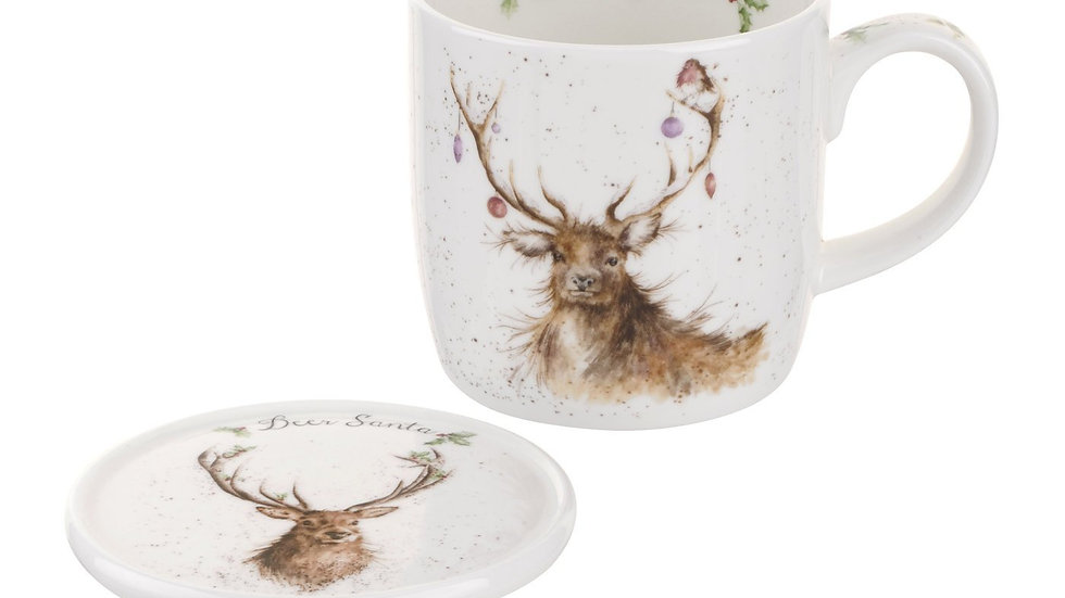 Wrendale 'Deer Santa' Deer China Mug & Coaster Set