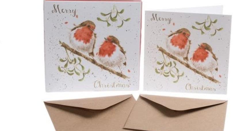 'Robins & Mistletoe' Christmas Card Set
