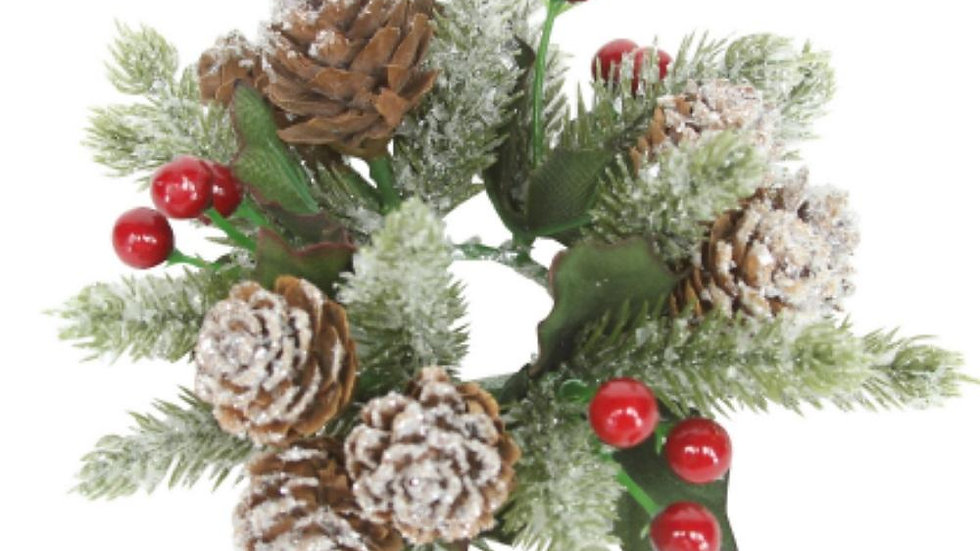 Pair Frosted Fir and Red Berry Traditional Candle Rings