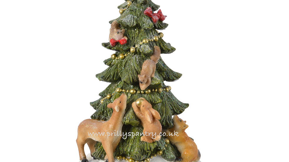 Frosted Christmas Tree With Woodland Animals Ornament
