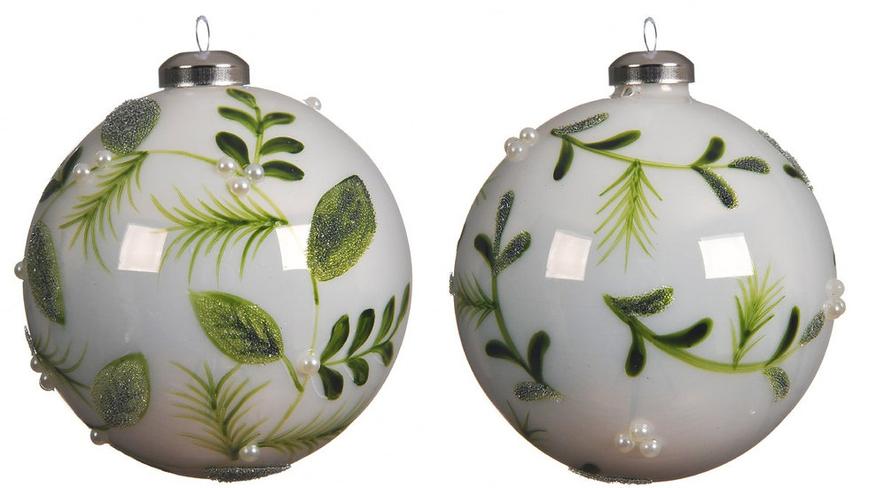 2 x Winter White Hand Painted Mistletoe & Leaves 10cm Glass Baubles With Pearls