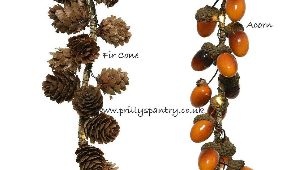 Acorn / Pine Cone Led String Lights Garland 110cm - 15 LED Lights