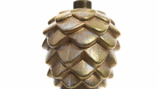 Gold Glass Frosed Pinecone Bauble 9 x 7cm