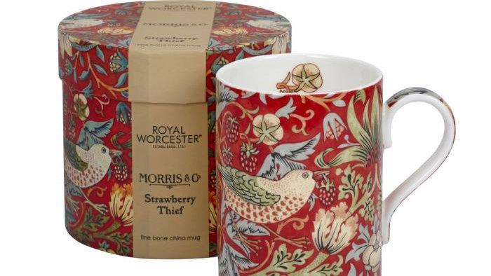 Morris and Co Royal Worcester Strawberry Thief Red Fine Bone China Mug
