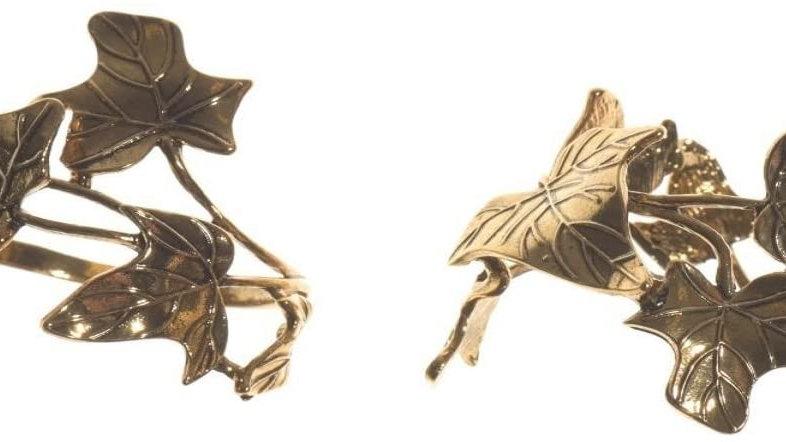 Pair Gold Leaf Design Metal Napkin Rings