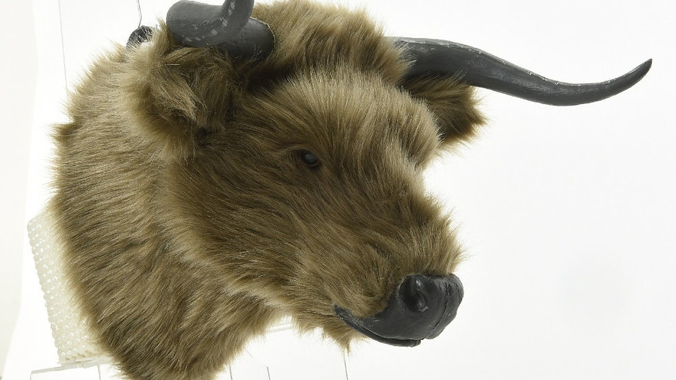Wall Mounted Artificial Buffalo Bison Cow Head | Faux Fur 42 x 37cm