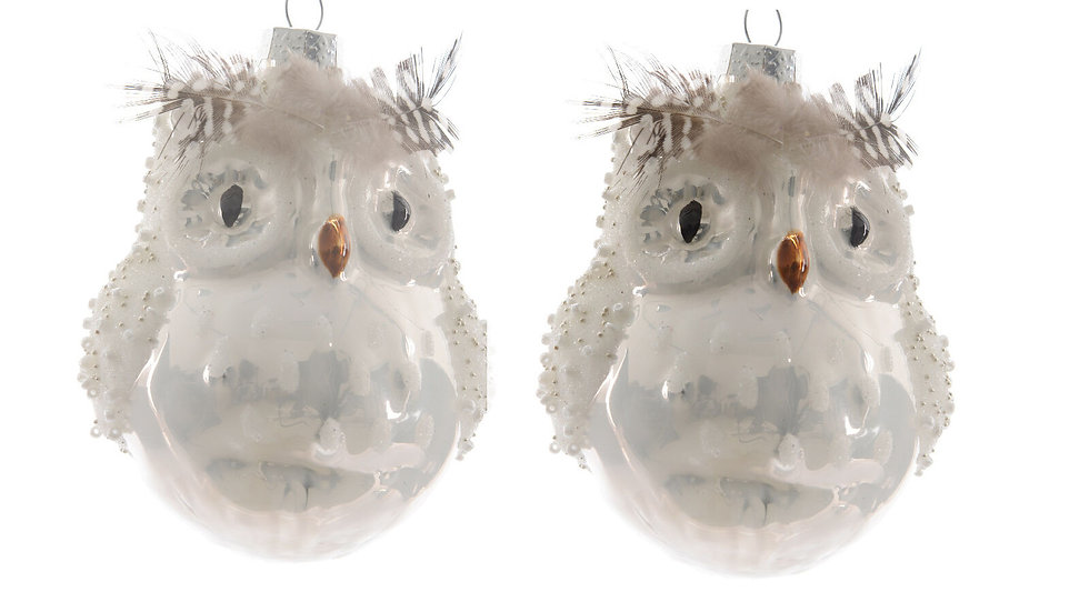 2 x Large Owl Shape Christmas Tree Glass Baublesle Decorations - 10cm