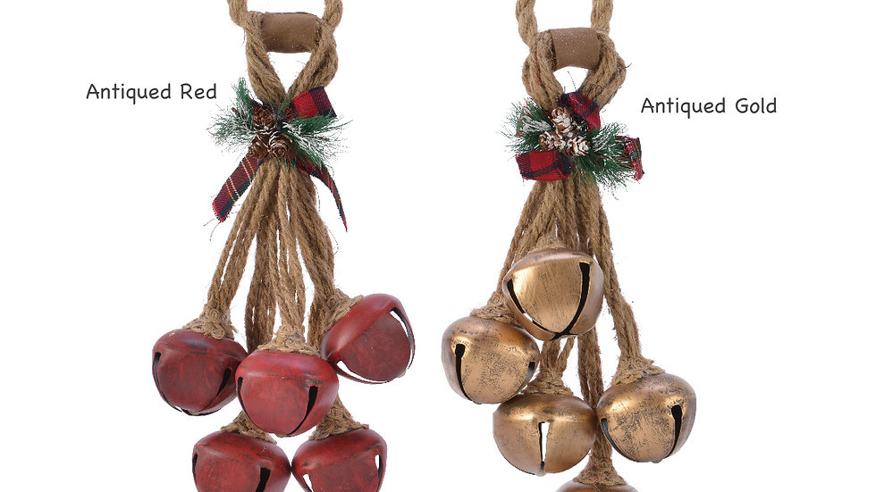 5 Metal Christmas Jingle Bells On Jute Rope Hanging Decoration - 53cm