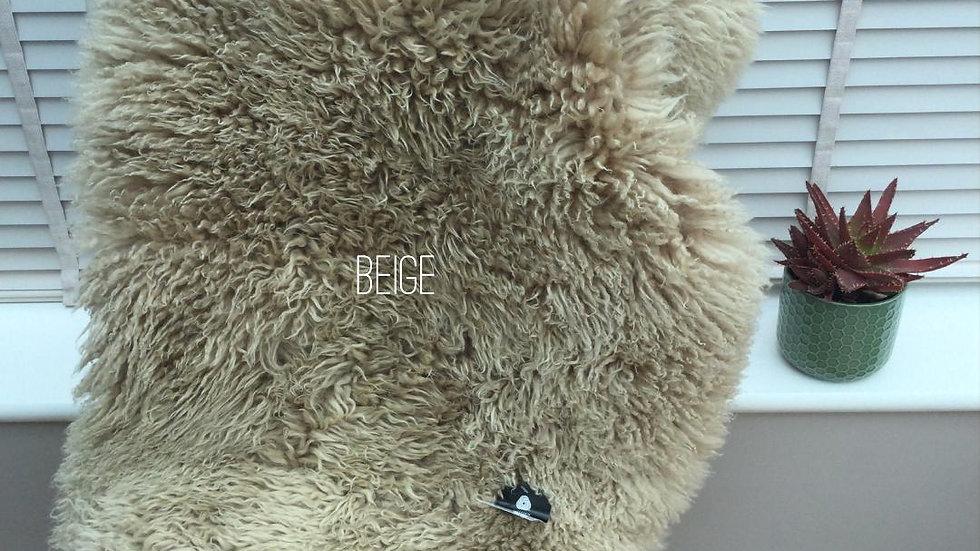 Beige - M/L Curly Coat Sheepskin Rug (70cm x 90-100cm)