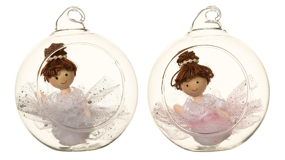 2 Ballerina Angel Open Glass Bauble Christmas Tree Decorations Pink & White 8cm