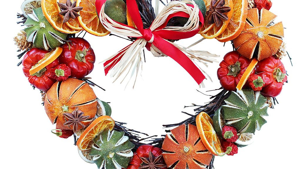 Festive Fruit Twig Heart Wreath - 28cm or 48cm