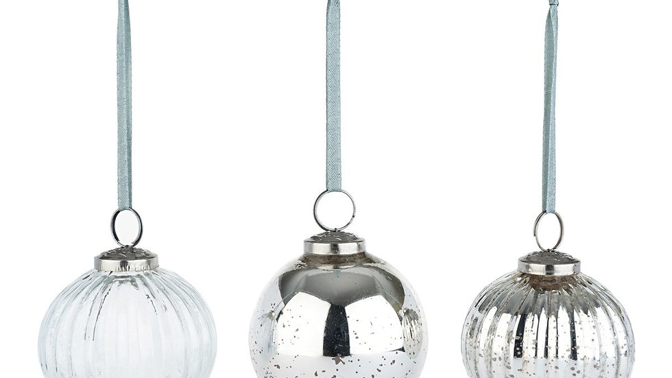Sophie Allport Antiqued Silver Glass Round Baubles - Set of 3