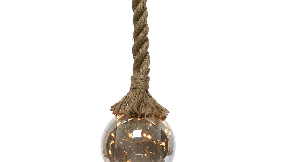 Amber Glass Globe Ball Light With Hanging Rope - 30 Warm White LEDs -14cm