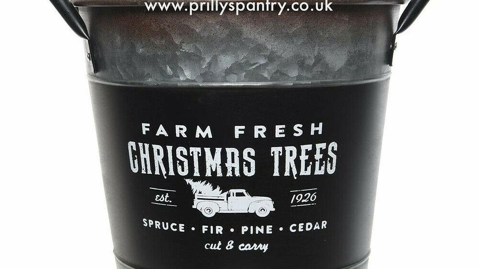 """Retro Xmas Tree Zinc Tree Bucket Planter """"Farm Fresh Christmas Trees"""" LG / MED"""