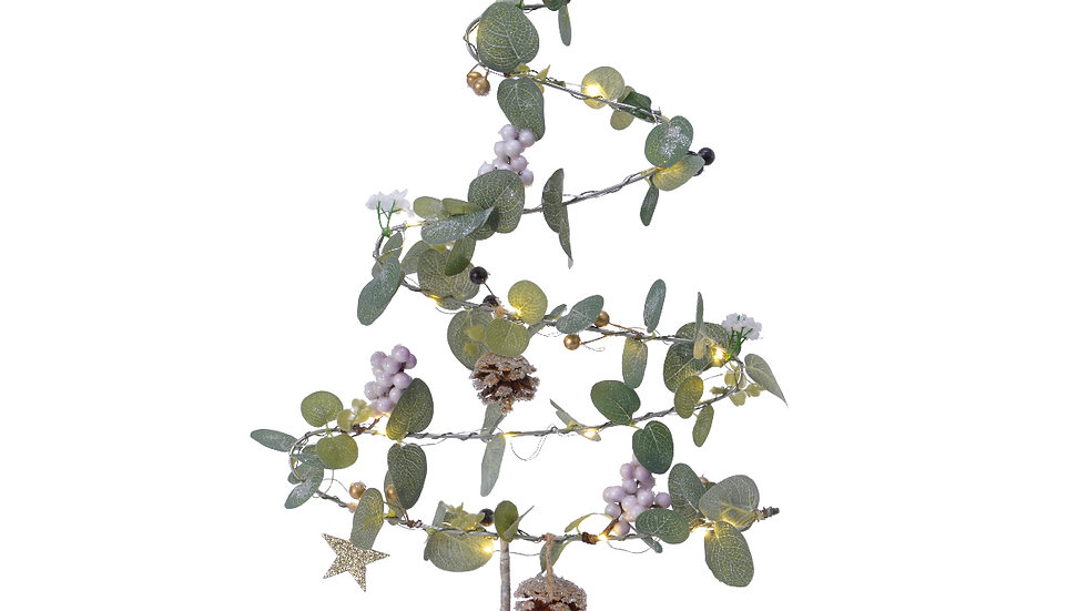 Wire LED Christmas Tree With Eucalyptus & Mistletoe Berries - 36 x 56cm