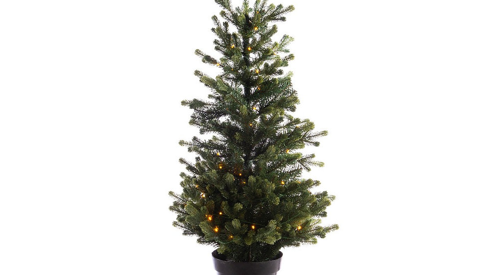 90cm (3ft) Led Pre Lit Green Geneva Christmas Tree With Black Potted Base