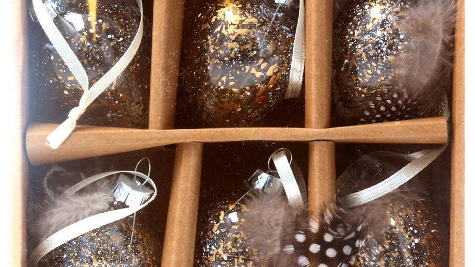 Gold Speckled Glass Egg Decorations - Pack 6 - Asst