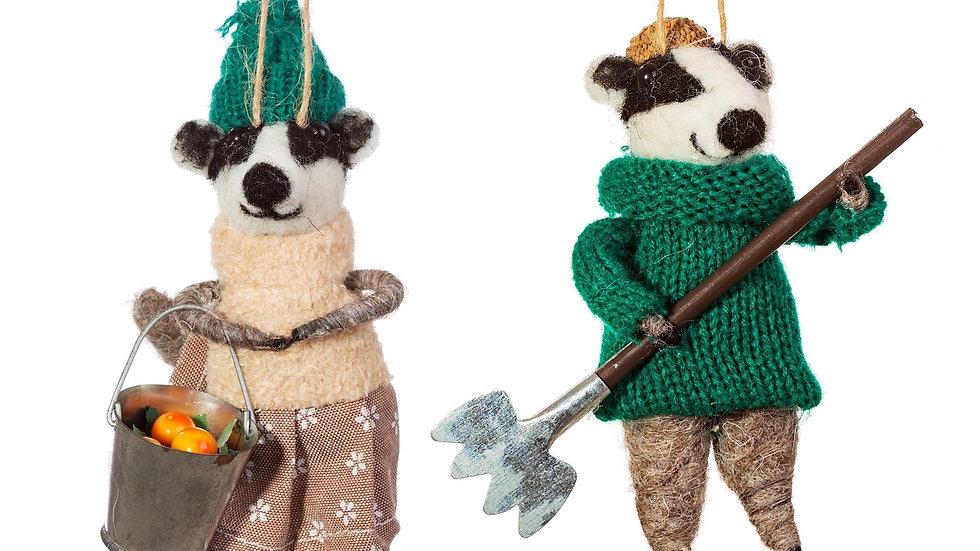 Pair Of Gardening Badgers Felt Decorations