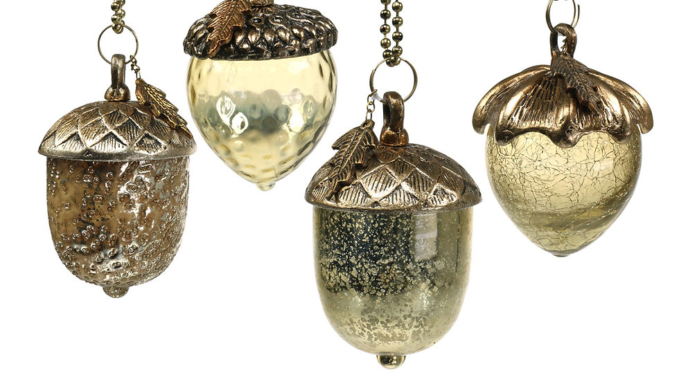 Set 4 Antiqued Gold Metal Gold Glass Acorns - Hanging Decorations
