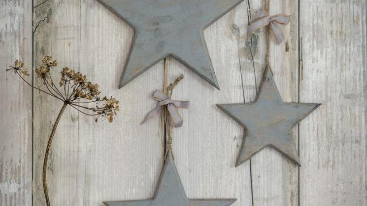 Set of 3 - Chunky Wooden Grey Stars - Vintage/Rustic Style