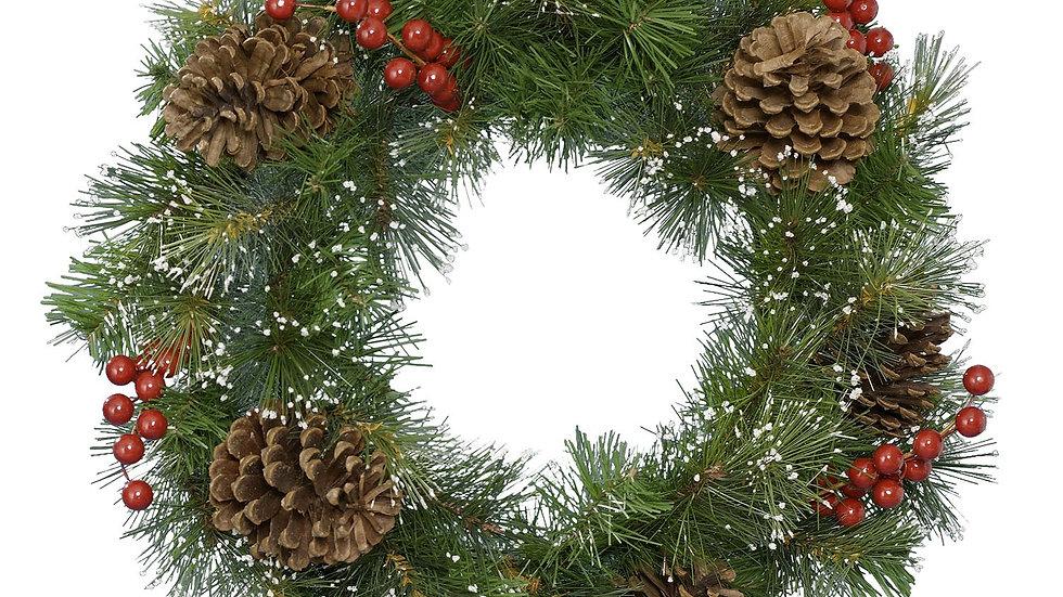 Snowy Winter Berry & Pine Cone Bushy Wreath 50cm