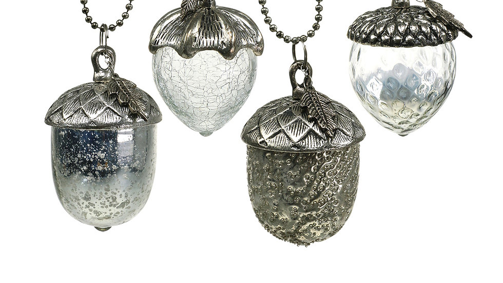 Set 4 Antiqued Silver Metal & Silver Glass Acorns Hanging Decorations