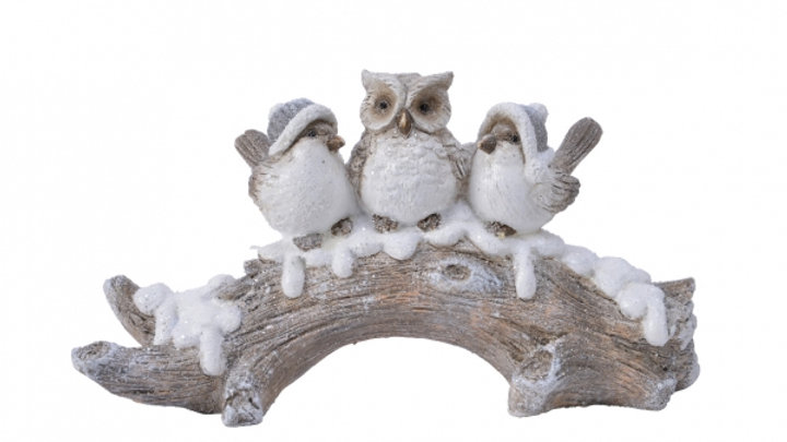 Woodland Winter | Three Birds On Snowy Tree Branch - 10 x 16.5 x 30cm