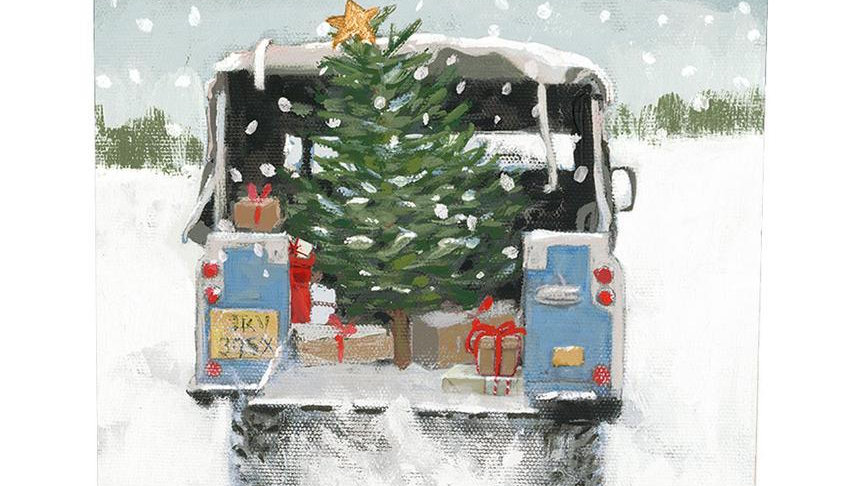 Jolly Journey - Vintage Landrover - Shelter Charity Christmas Card Pack
