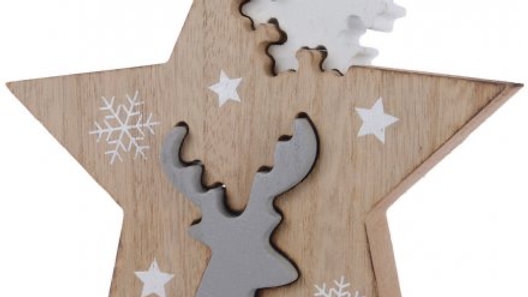 Nordic Wooden Christmas Star Ornament With Reindeer & Snowflake Push Out Pieces