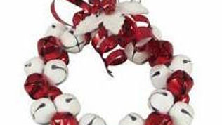 Red & White Jingle Bell Wreath Decoration -10cm