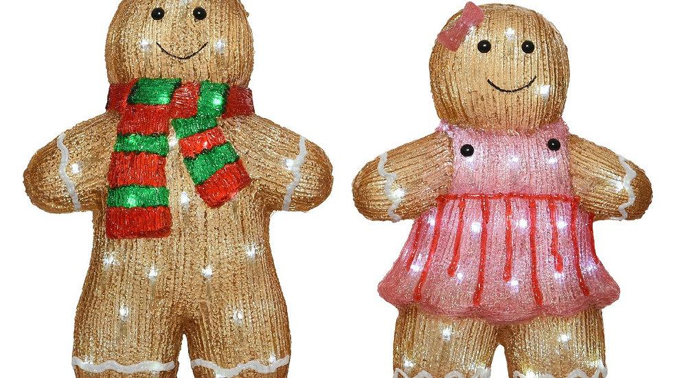 Lumineo New GingerBread Man Boy & Girl Outdoor Acrylic Led Garden Light Figures