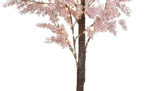 180cm Pink Sparkle Snowy Flower Twig Tree Indoor Outdoor Pre Lit 180 Micro Leds