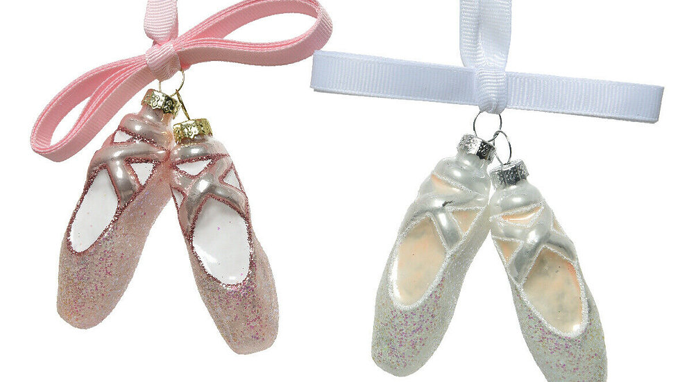 2 x Pair Pink & White Glass Ballet Shoe Christmas Tree Bauble Decorations.