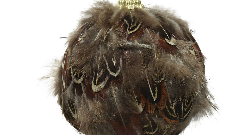 Set 6 Real Feather Christmas Tree Baubles - Size 8cm