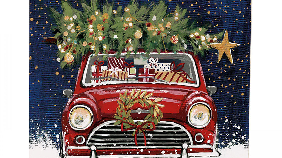 Christmas Classic - Red Classic Mini Car - Shelter Charity Christmas Card Pack