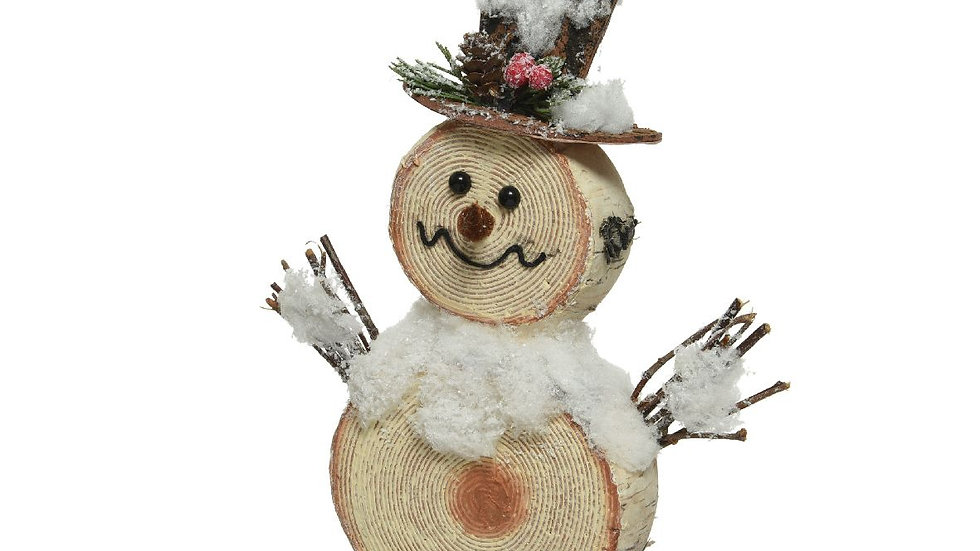 Wooden Log  Slice Effect Snowman Figure With Twig Arms - 4 x 20 x 24cm