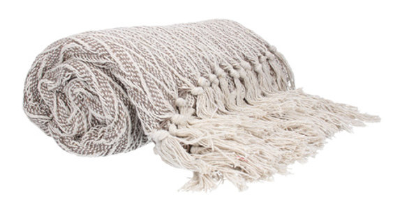 Beige Chevron Knitted Cotton Throw 150 x 125
