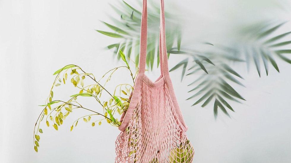 Dusty Pink Cotton String Shopping Bag - 60cm x 30cm