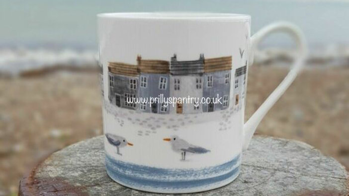 Shoreline Design Bone China Mug Pair - By Gisela Graham