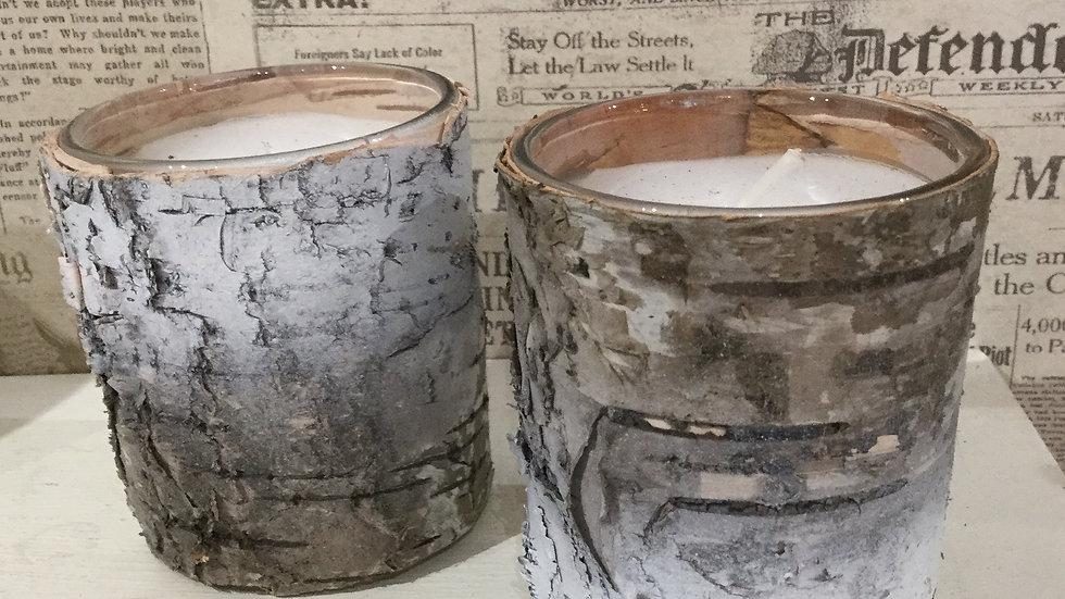 Birch Bark/Votive Glass Tea Light Candle Pair