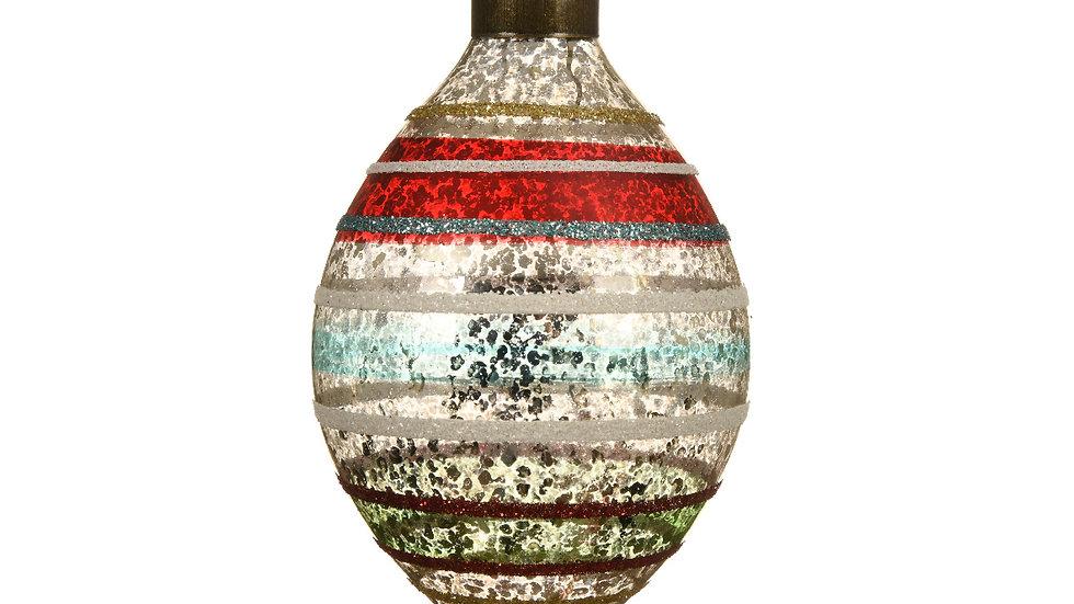 Pair Vintage Olive Shape Glass Baubles - 10cm