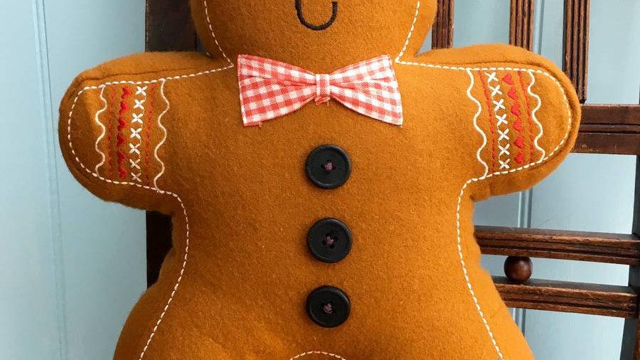 Gingerbread Man Felt Cushion 'Roger' - 41cm
