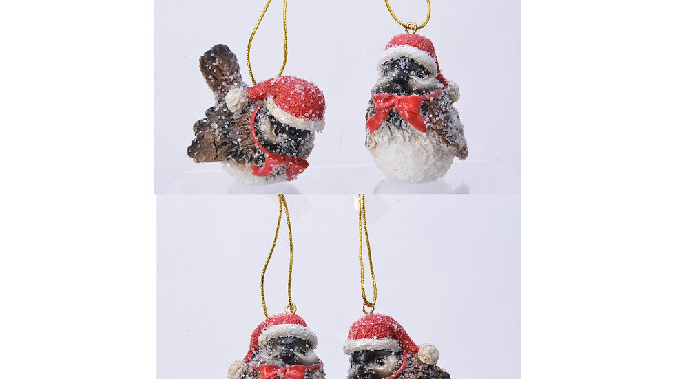 Set 3 Frosty Garden Birds Hanging Tree Decorations | Wearing Red Hats & Bows