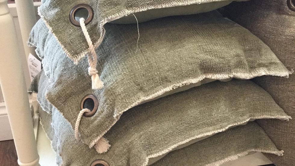 Moss Green Woven Stonewash Cotton Cushion Pair - 45 x 45cm
