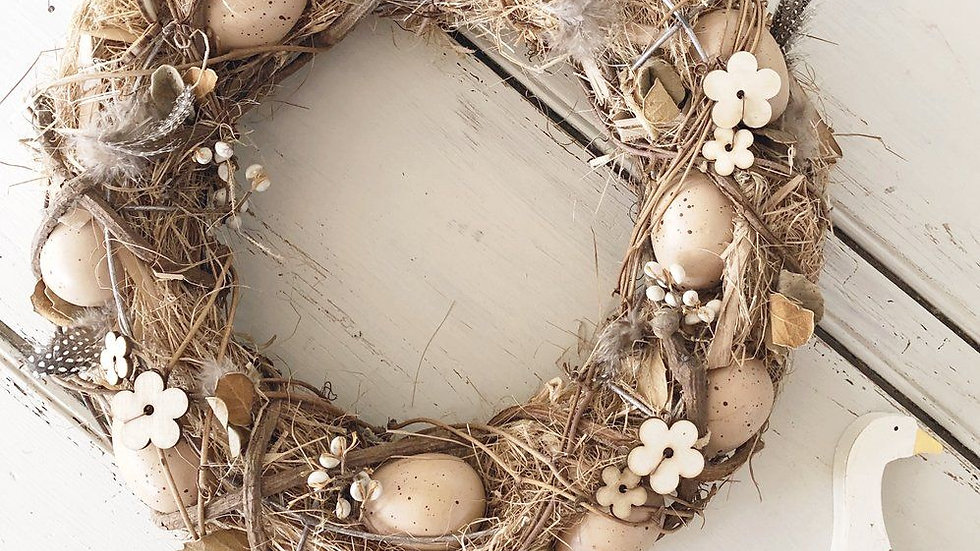 Easter Wreath - Country Natural Style Twig Eggs & Real Feathers - 34cm