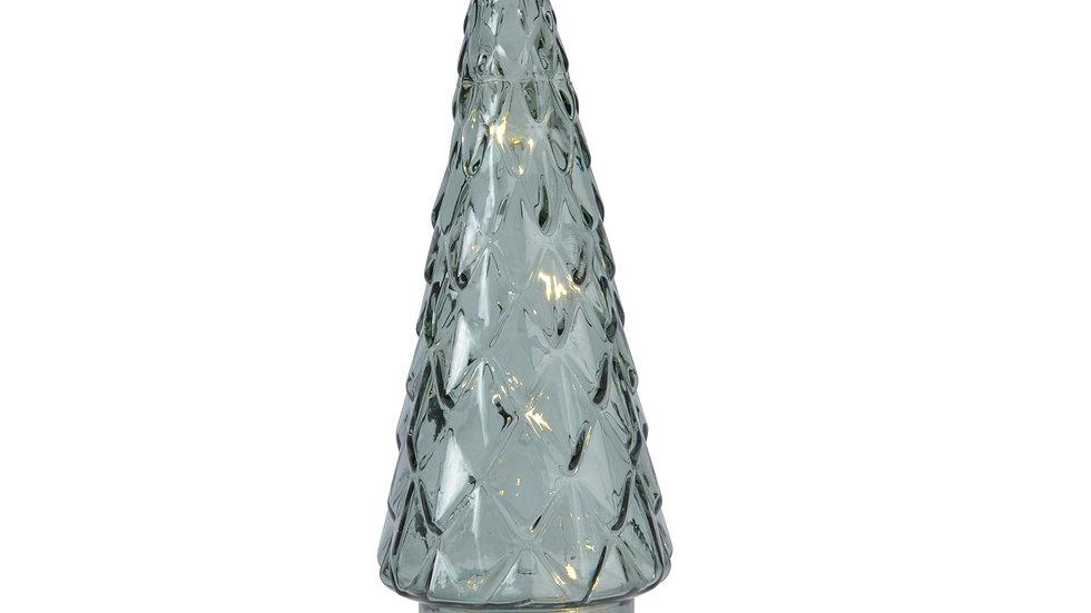 Led Green Glass Christmas Tree Figurine Decoration - 11 x 25cm