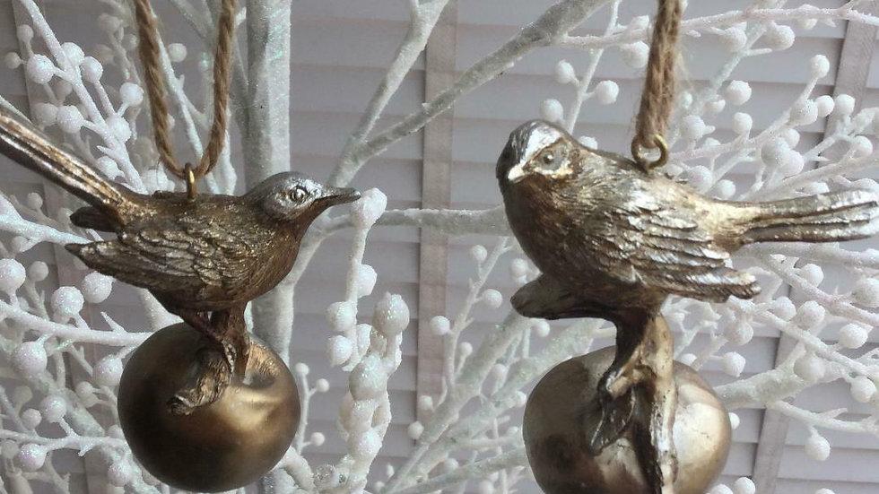 Pair Antique Gold Garden Birds On Fruit Christmas Bauble Tree Decorations