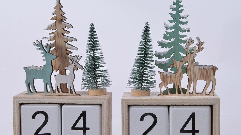 Christmas Countdown Calendar, Deer Forest Scene, Green, White, Natural Wood