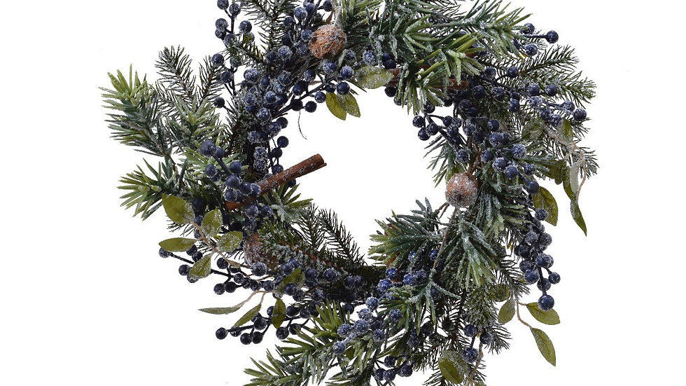 Frosted Winter Sloe Berry/Blueberry Christmas Door Wreath Size 40cm