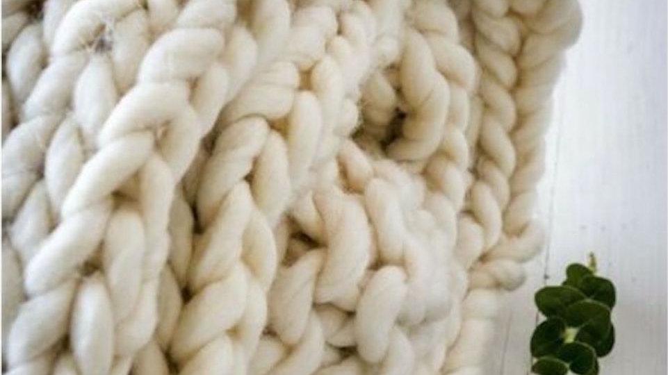 Extra Chunky Throw - Ivory -125 x 150cm